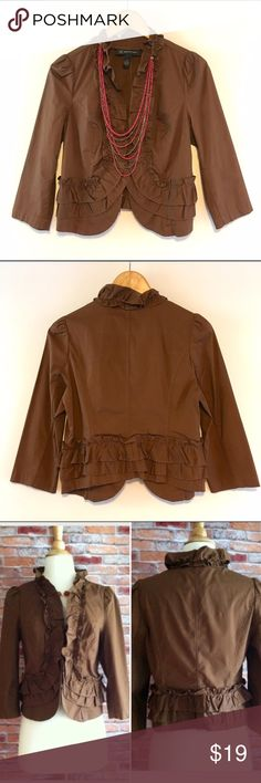 """INC ruffle trim jacket Perfect spring topper! Lightweight brown stretch cotton blazer. Perfect for the office! Ruffle front collar and hem. Bracelet sleeves. Hook and eye closure. 97/3 cotton, spandex. 21.5""""L. 17.5"""" bust laying flat. Size PS. INC International Concepts Jackets & Coats"""