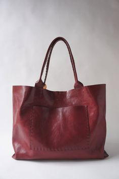 The Belleville - Large Horizontal Leather Bag - Italian Leather - Red