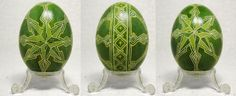 Green and Yellow Geometric Star Burst on Duck Egg by Natakuaya