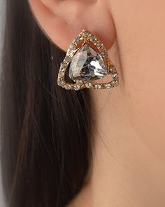 $1.99 - Rhinestone Studded Triangle Earring