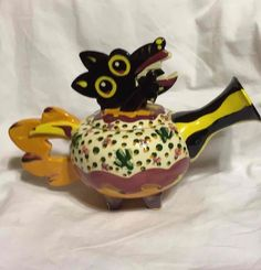 Pottery Teapot Handmade Coyote Southwest Cactus Glazed Ceramic Artist Signed