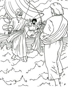 Jesús anda sobre el mar - Página para colorear