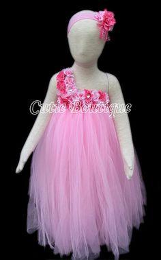 Pink Tutu Dress Flower Girl Dress Valentines 12 by CutiesBoutique, $58.00
