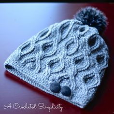 Crochet Pattern: Hourglass Cabled Beanie & Slouch by A Crocheted Simplicity. Pinned by Brown n' Teal Crochet Cable, Crochet Beanie, Free Crochet, Knitted Hats, Crochet Crafts, Crochet Projects, Crochet Tutorials, Knitting Patterns, Crochet Patterns