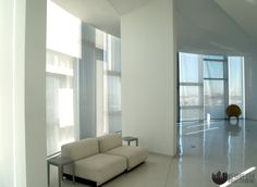 Automated sun shades installation at teh Jean Nouvel building in NYC. Product: Phifer Openness with Somfy motors. Window Treatments, Interior Windows, Floor To Ceiling Windows, Shades Blinds, Room Divider, Home Decor, Roller Shades, Custom Windows, Custom Window Treatments