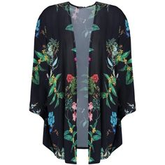 Boohoo Kelly Floral Print Kimono (€16) ❤ liked on Polyvore featuring outerwear, jackets, tops, floral-print bomber jackets, kimono jacket, puff jacket, style bomber jacket and puffer bomber jacket