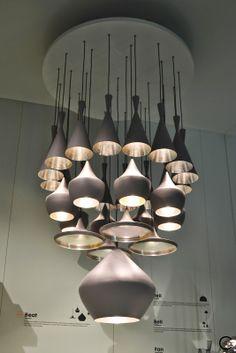 Tom Dixon  Milan Salone del Mobile 2014  metal and copper accessories, furniture and lamps.  C-More interior blog