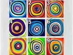 Hand-painted Abstract Oil Painting with Stretched Frame - Set of 6 Classroom Art Projects, Art Classroom, Abstract Canvas Art, Oil Painting Abstract, Oil Paintings, Heart Clip Art, Folk Print, Circle Art, Diy Canvas