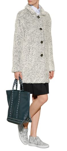 Rendered in a modern textured boucle, this structured coat from Vanessa Bruno Athé is a high-style topper for chilly days #Stylebop