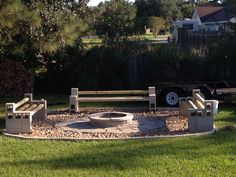 Cinder block benches around fire pit