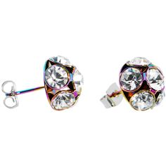 Rainbow Ball Gem Stud Earrings | Body Candy Body Jewelry #bodycandy