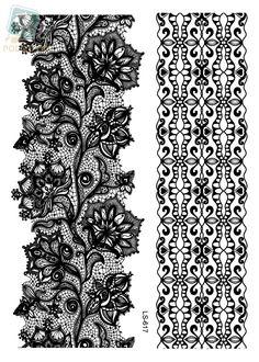 LS616/Rocooart eco-friendly henna makeup temporary Indian flower tattoo black white lace bracelet tattoo sticker