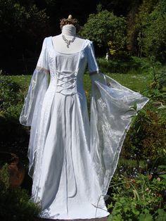 Galadriel Celtic  White goddess medieval renaissance lotr Handfasting wedding gown / dress 8 TO 14 via Etsy