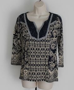 Lucky Brand Size M Boho Top Floral 3/4 Sleeves Bohemian Blue Beige #LuckyBrand #KnitTop #Casual