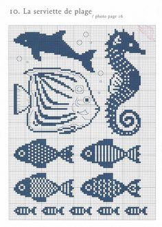 cross stitch chart also for filet crochet Cross Stitch Sea, Cross Stitch Animals, Cross Stitch Charts, Cross Stitch Patterns, Cross Stitching, Cross Stitch Embroidery, Embroidery Patterns, Knitting Charts, Knitting Patterns