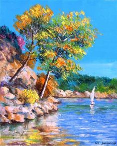 Watercolor Landscape, Landscape Art, Landscape Paintings, Watercolor Paintings, Seascape Paintings, Art Oil, Art Pictures, New Art, Cool Art