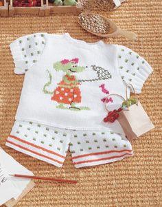 Revista bebé 1 Primavera / Verano | 34: Bebé Jersey | Blanco / Negro / Naranja / Verde claro / Fucsia