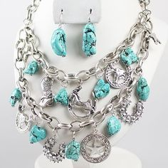 "CHUNKY RECONSTITUTED TURQUOISE HORSE CHARM SILVER TONE NECKLACE SET    * If you need a necklace extender I have them for sale in my store.*       NECKLACE: 18"" LONG + EXT              HOOK EARRINGS                    COLOR: SILVER TONE  $27.99"
