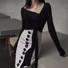 c06e8c1006 Cakucool nueva falda verano alta cintura negro blanco Plaid Vintage Midi  faldas botones volver hendidura Corea