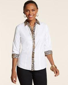 Chico's Effortless Leopard Trim Gabrielle Top #chicos