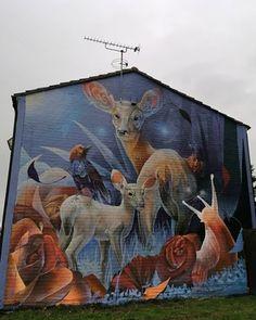 Curtis Hylton for Cheltenham Paint Festival in Cheltenham, UK, 2020 Street Art London, Creative Art, Cosmos, Deer, Graffiti, Moose Art, Horror, Snail, Drawings