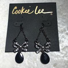 Great✨Cookie Lee Earrings Cute Black stone drop with Genuine Crystals in a Bow Shape. Never worn. Pierced. Cookie Lee Jewelry Earrings