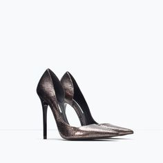 Image 2 of Embossed leather court shoe from Zara