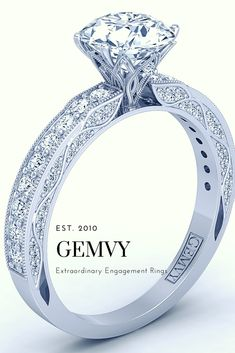 Flower inspired Channel set pave engagement ring from Gemvy