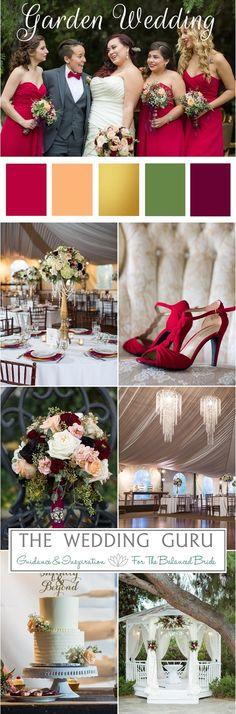 Garden wedding with vibrant pops of color. #gardenwedding