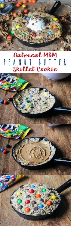 This Oatmeal M&M Peanut Butter Skillet Cookie is a quick and easy recipe made in one bowl that's perfect for sharing! It has a layer of peanut butter in the middle and lots of crispy edges. Top it with ice cream for a homemade version of the pizookie! @mmschocolate