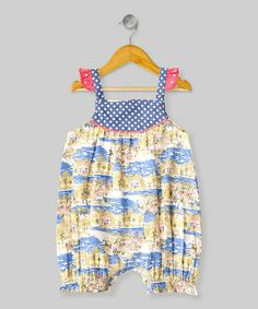 Look what I found on #zulily! White & Blue Cottage Romper - Infant by Frangipani Kids #zulilyfinds