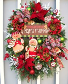 Christmas gingerbread wreath http://www.timelessfloralcreations.com/