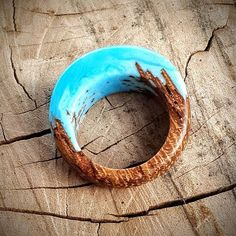 Size 5 1/2 Wood Resin Ring Blue Sky Natural wood jewelry
