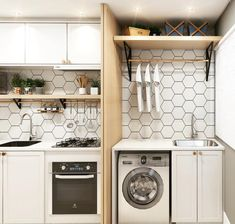 Best Home & Kitchen Kitchen Room Design, Laundry Room Design, Bathroom Interior, Interior Design Living Room, Kitchen Decor, Outdoor Laundry Rooms, Laundry Decor, Rustic Basement Bar, Small Apartment Interior