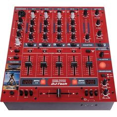 DJ-Tech DDM 3000 Pro 4-Channel DJ Mixer with Effects and BPM Counter - Red