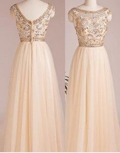 Long A-Line Bateau Beading Tulle Prom Dresses Prom
