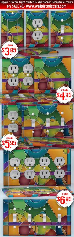 DIY Do It Yourself Home Decor - Easy to apply wall plate wraps | Abstraction of Shapes Multicolor circles and angles wallplate skin stickers for single, double, triple and quadruple Toggle and Decora Light Switches, Wall Socket Duplex Receptacles, and blank decals without inside cuts for special outlets | On SALE now only $3.95 - $6.95