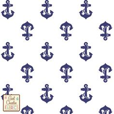 Navy Blue Anchors Away II on White Cotton Jersey Blend Knit Fabric - Yes! I'm totally obsessed with all things blue, white, and nautical!!!!!
