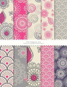 """Digital Paper, Doodle Flower Digital Scrapbook Paper Pack (8.5x11""""-300 dpi) -- Instant Download -- 10 Digital papers -- 357"""