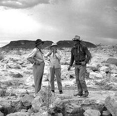 "Visitor John Ford, director John Farrow and John Wayne on location in Mexico for ""Hondo"", 1953."