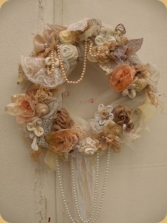 Items similar to Shabby Chic Wreath - Cottage chic wreath - Rustic Wreath - Shabby wedding wreath - Wreaths - Flowers Wreath - Door Hanger - Boho wreath on Etsy Couronne Shabby Chic, Shabby Chic Kranz, Shabby Chic Mode, Shabby Chic Wreath, Shabby Chic Crafts, Vintage Shabby Chic, Shabby Chic Style, Shabby Chic Decor, Boho Chic