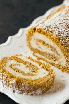 Pumpkin Roll Recipe ~ (Rather than rolling cake up in parchment paper to cool, rolling it up in a kitchen towel sprinkled with powdered sugar will allow it to cool more quickly without becoming soggy).