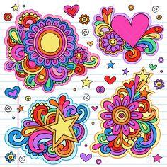 Illustration of Groovy Psychedelic Doodles Hand Drawn Notebook Doodle Design Elements on Lined Sketchbook Paper Background vector art, clipart and stock vectors. Doodle Frames, Doodle Art, Valentines Day Doodles, Valentine Day Love, Flower Power, I Love You Lettering, Notebook Doodles, Hippie Flowers, Free Art Prints