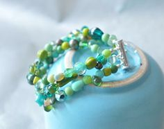 #Glass Bead #Bracelet with Various #Green Glass Beads