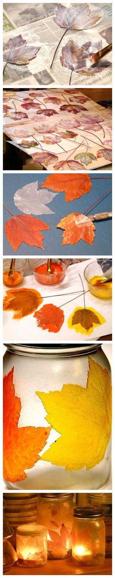 Autumn Magic! Fall Leaves, Mod Podge, and Food Coloring