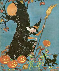 Vintage Halloween children's magazine cover witch moon black cat JOL pumpkin jack o' lantern gnome e Halloween Night, Halloween Kids, Halloween Crafts, Halloween Decorations, Halloween Stuff, Halloween Costumes, Halloween Makeup, Halloween Puzzles, Halloween Plates