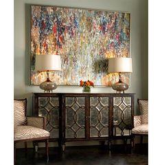 Bayard Hollywood Regency Espresso Silver Leaf Mirrored Lattice Sideboard   Kathy Kuo Home