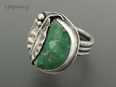 Silver Ring, Turquoise Ring, Turquoise Jewelry, Turquoise, Sterling Silver, Size 7, Statement Ring, Cocktail Ring, Metalsmith Jewelry  A fun statement