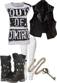 A fashion look from May 2013 featuring pattern shirt, punk rock vest and boot cut jeans. Browse and shop related looks. Emo Mode, Punk Mode, Punk Fashion, Gothic Fashion, Fashion Looks, Womens Fashion, Lolita Fashion, Style Fashion, Punk Outfits
