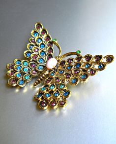 HOLLYCRAFT Butterfly Brooch Jewel Tone by RenaissanceFair on Etsy